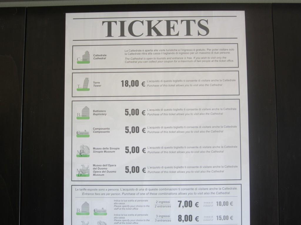Пиза, входные билеты